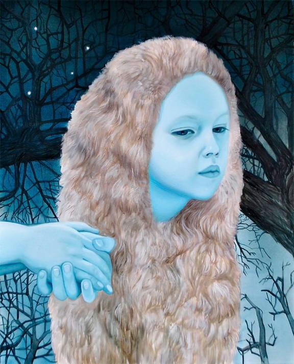 """Klaudia Ka, """"Sen zimowy"""", 2018, olej na płótnie, 100 x 80 cm (źródło: materiały prasowe organizatora)"""