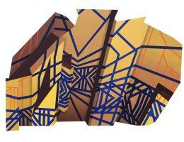 """Aleksandra Łatecka, """"Konstrukcja XII"""", 2018, akryl na płycie, 100 x 140 cm (źródło: materiały prasowe organizatora)"""
