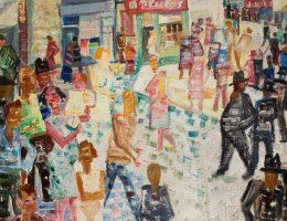 """""""Scena uliczna w Krzemieńcu"""", Stanisław Osostowicz, ok. 1936, fot. Arkadiusz Podstawka (źródło: materiały prasowe organizatora)"""