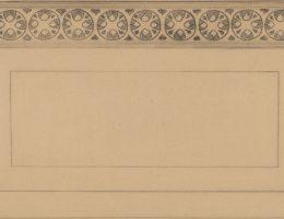 """Stanisław Wyspiański, Lilie i osty. Projekt główki okładki anonsowej czasopisma """"Życie"""", 1897. Kredka, ołówek, papier; 22,5 x 54,3 cm"""