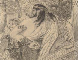 """Stanisław Wyspiański, Dwaj Atrydzi (Agamemnon powstaje na Achillesa i Menelaos). Rysunek do """"Iliady"""" Homera, 1896. Kredka, papier; 24,6 cm × 28,3 cm"""