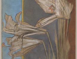Stanisław Wyspiański, Lilie białe. Projekt do polichromii dla Archiwum Miasta Krakowa (niezrealizowany), 1904. Pastel, karton, 130,0 x 43,0 cm (w ramie: 163,0 x 80,5 cm)