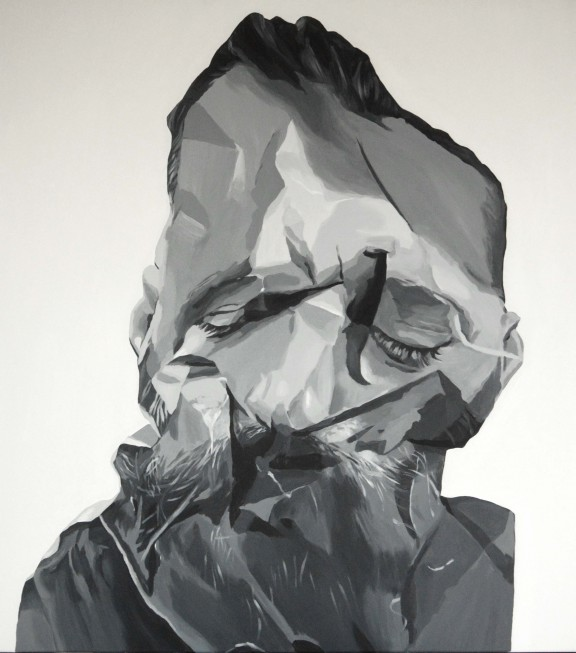 Bartek Jarmolinski, Odpad, akryl, płótno, 110 × 100 cm (Źródło: materiały prasowe organizatora)