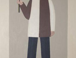 """Ignacy Czwartos, """"Autoportret z abstrakcją"""", 2008, ol. pł., 180 × 110 cm, własność artysty (źródło: materiały prasowe organizatora)"""