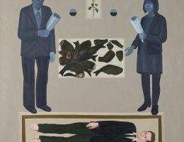 """Ignacy Czwartos, """"Kwiaty dla Wróblewskiego"""", 2014, ol. pł., 200 × 200 cm, własność Wojciecha Janika (źródło: materiały prasowe organizatora)"""