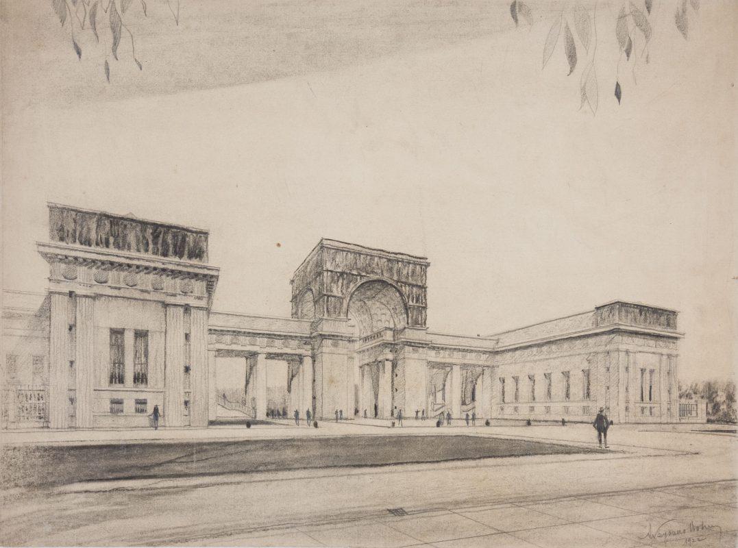 Adolf Szyszko-Bohusz, Projekt gmachu głównego MNK, kredka, ołówek, papier żeberkowy, Muzeum Narodowe w Krakowie (źródło: materiały prasowe)