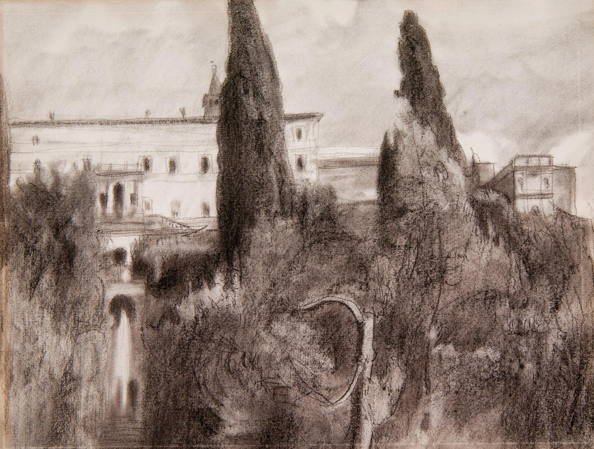 Wojciech Weiss, Motyw krajobrazowy włoski, węgiel, papier, 1902, Muzeum Narodowe w Krakowie (źródło: materiały prasowe)