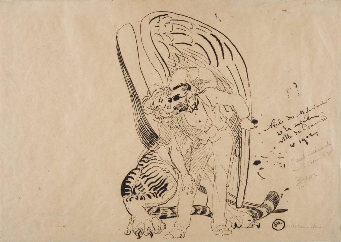 Jacek Malczewski, Jasieński w objęciach Chimery (karykatura), papier, 1902, Muzeum Narodowe w Krakowie (źródło: materiały prasowe)