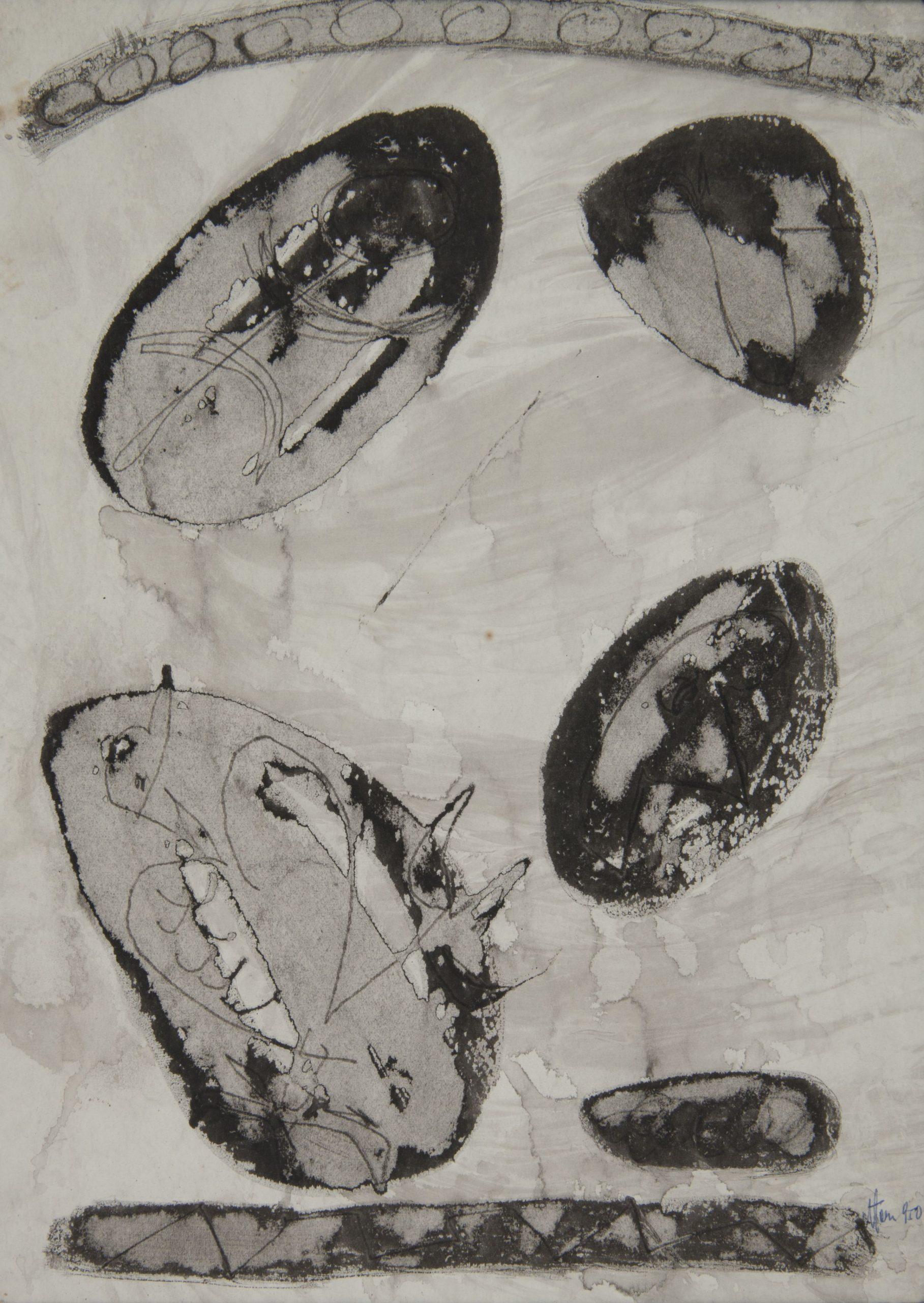 Jonasz Stern, Kompozycja, tusz, papier, wosk, 1950, Muzeum Narodowe w Krakowie (źródło: materiały prasowe)