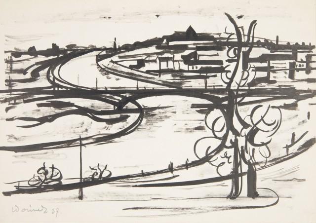 Eugeniusz Waniek, Wisła pod Krakowem, tusz, papier, 1957, Muzeum Narodowe w Krakowie (źródło: materiały prasowe)
