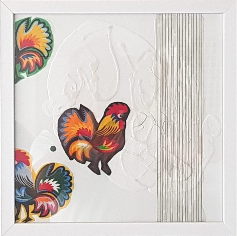 Marco Angelini, Kogut 1, 2018, 30×30 cm, płótno, technika mieszana (źródło: materiały prasowe)
