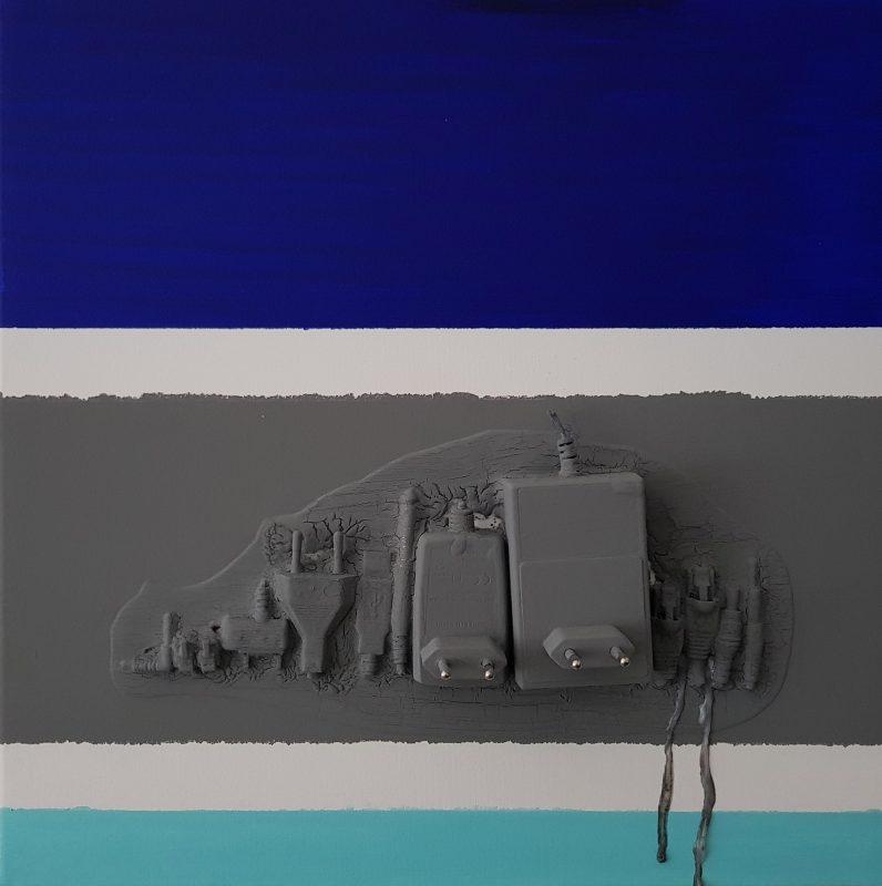 Marco Angelini, 572 i VISTULA, 2018, 30×30 cm, płótno, technika mieszana (źródło: materiały prasowe)