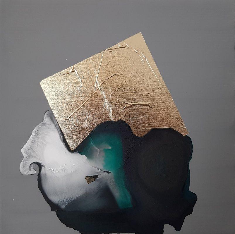 Marco Angelini, 580g, 2018, 30×30 cm, płótno, technika mieszana (źródło: materiały prasowe)