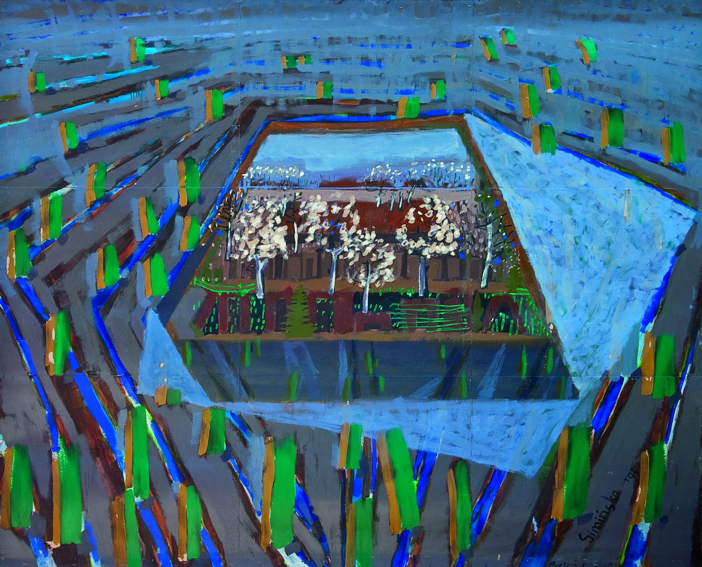 Aleksandra Simińska, Aleksandra Simińska,1992, Pejzaż z kwitnącym sadem, 1992, olej na kartonie, 196×236, fot. Ł. Maklakiewicz (źródło: materiały prasowe)
